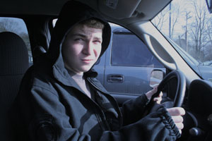 WHBHS student, Jimmy Felsburg, anxiously awaits his road test results.