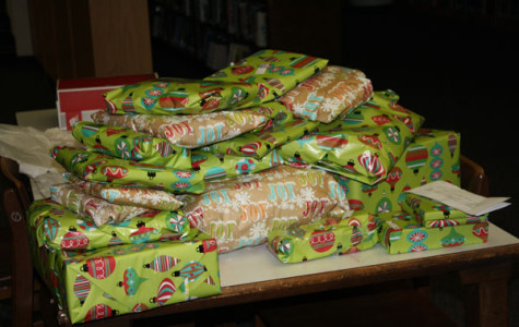 Wrapped presents for one of the families for Adopt-A-Family