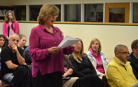 Teacher's Association president Mrs. Kearns at last week's budget meeting. (Courtesy of 27east.com)