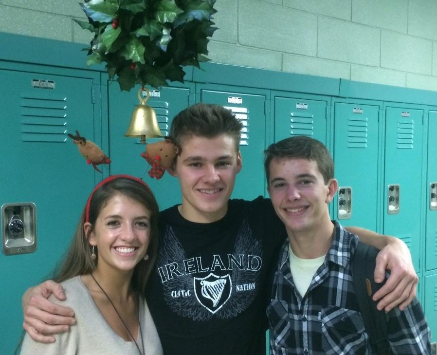 Class officers Carly Bossung, Marc Cotter and Kyle Maddock get into the holiday spirit