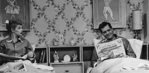 Lucille Ball (Lucy) and her husband on and off screen Desi Arnaz (Ricky) sleeping in seperate beds. 
