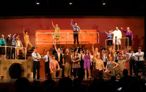 The cast of Urinetown during Act 2 - Photo courtesy of Maura Sitzmann's Facebook page