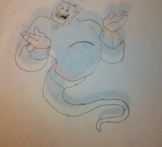 Genie from Aladdin, one of William's most famous played characters.