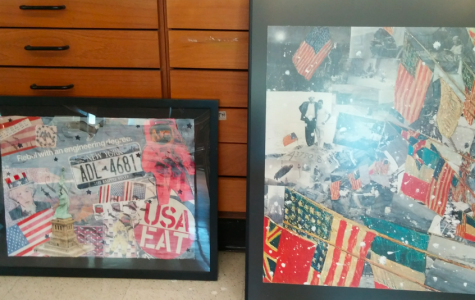 From left to right, Bryanna Gristina's and Carly Kandler's Rauschenberg collage.