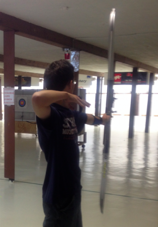 Lockwood practices his skills at an indoor archery range in Patchogue.