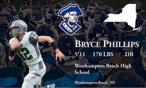 Bryce Phillips, #12 for Hamilton College football