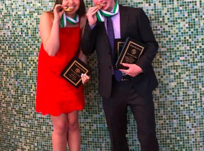 Salutatorian Ariel and Valedictorian Adam at the 2018 Academic Awards.