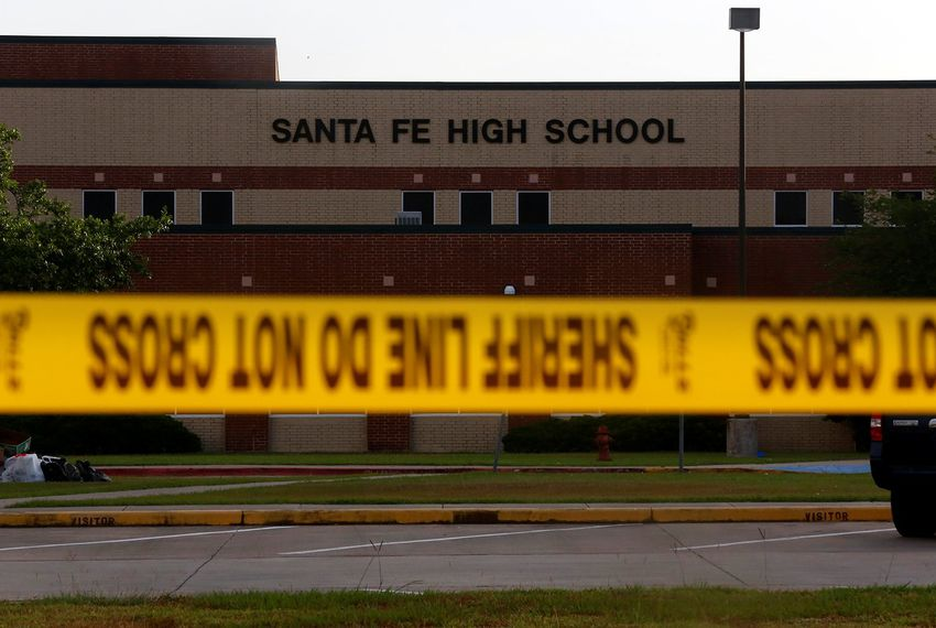 Santa Fe High School after the school shooting. Photo from Texas Tribune.