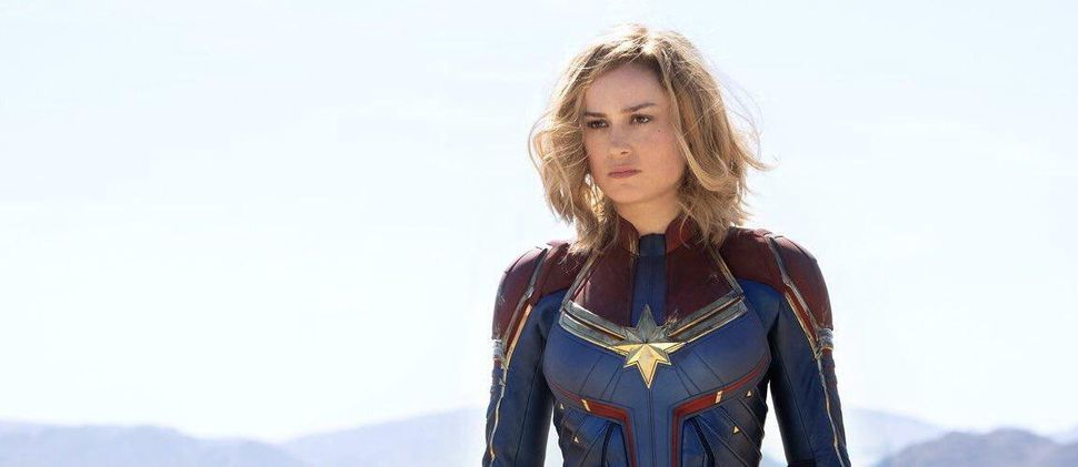 Brie Larson in the Captain Marvel uniform in a photo from Entertainment Weekly