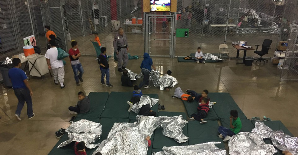A view of inside U.S. Customs and Border Protection (CBP) detention facility shows children at Rio Grande Valley Centralized Processing Center in Rio Grande City, Texas, U.S., June 17, 2018. Picture taken on June 17, 2018.