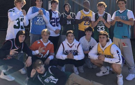 Sophomore Boys dressed for Jersey Day on Thursday instead of Character Day