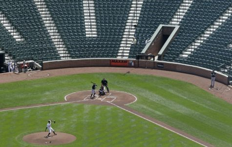 Oriole Park at Camden Yards with no fans in the seats.