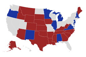 Map of the Senate seats up for election this fall; Republicans hold 23 seats, Democrats hold 12 seats