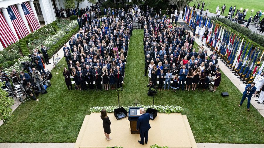 The Supreme Court announcement in the Rose Garden where the latest cases are linked to