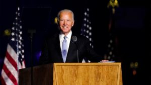 Biden pictured at his victory speech on Saturday night