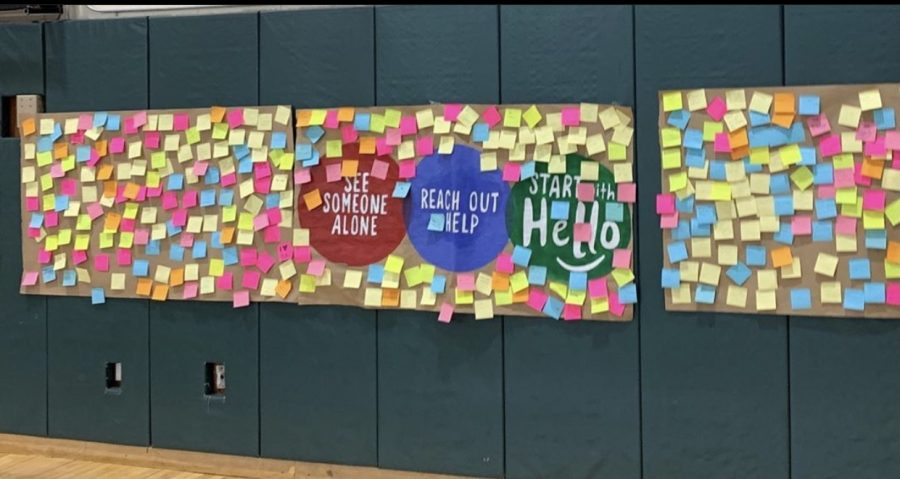 Start With Hello banner in the gym with positive notes for WHB students.