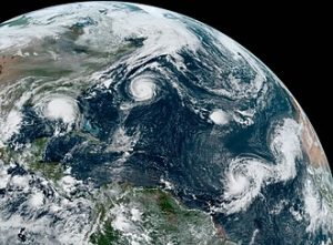 Satellite image of five active tropical systems on September 14