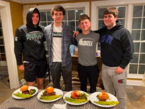 L-R:  Junior Christian Killoran with the three chefs, Owen, Luke and Anthony